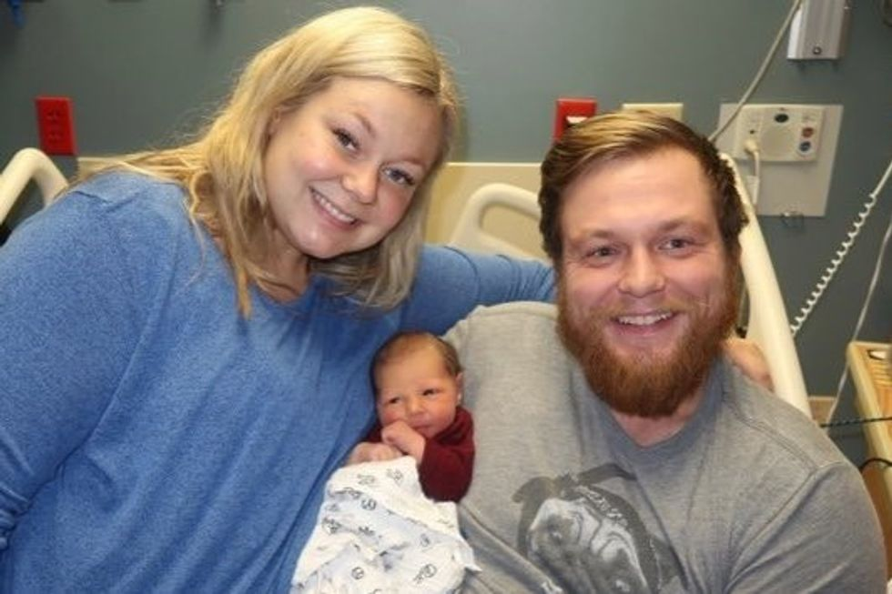 This incredible mom saved her husband's life just before giving birth.