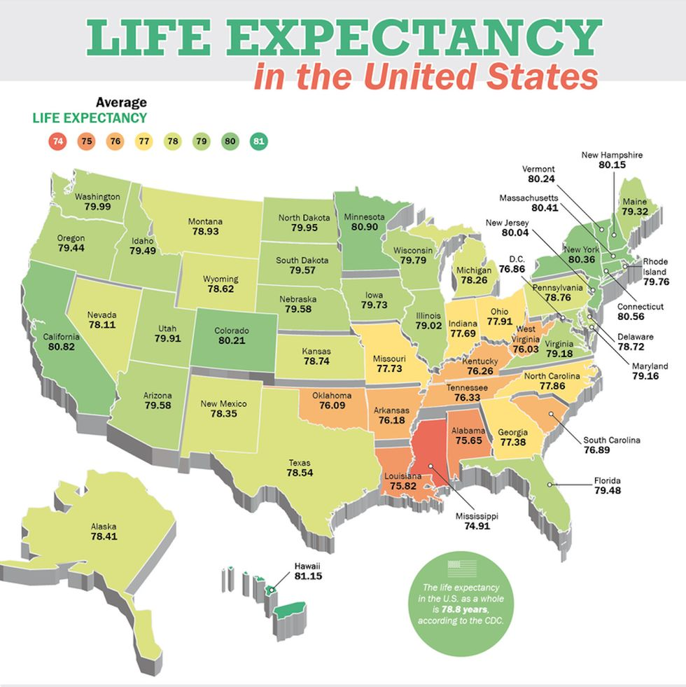 Us Life Expectancy Map Life expectancy discrepancies in the US   Big Think