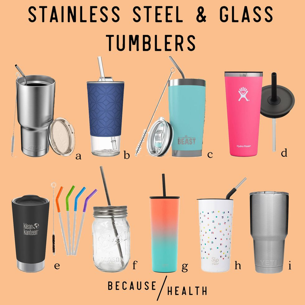 9 Stainless Steel & Glass Tumblers
