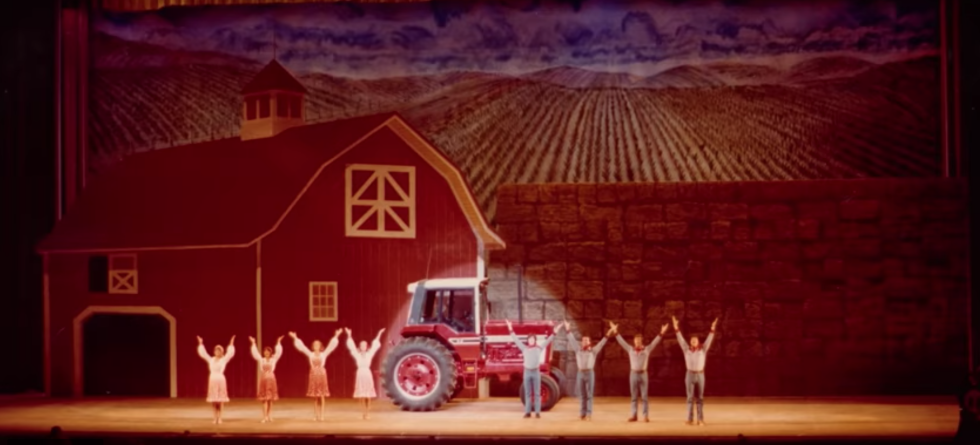 A still from an industrial musical promoting tractors.