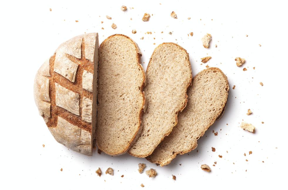 a whole grain loaf sliced up into pieces