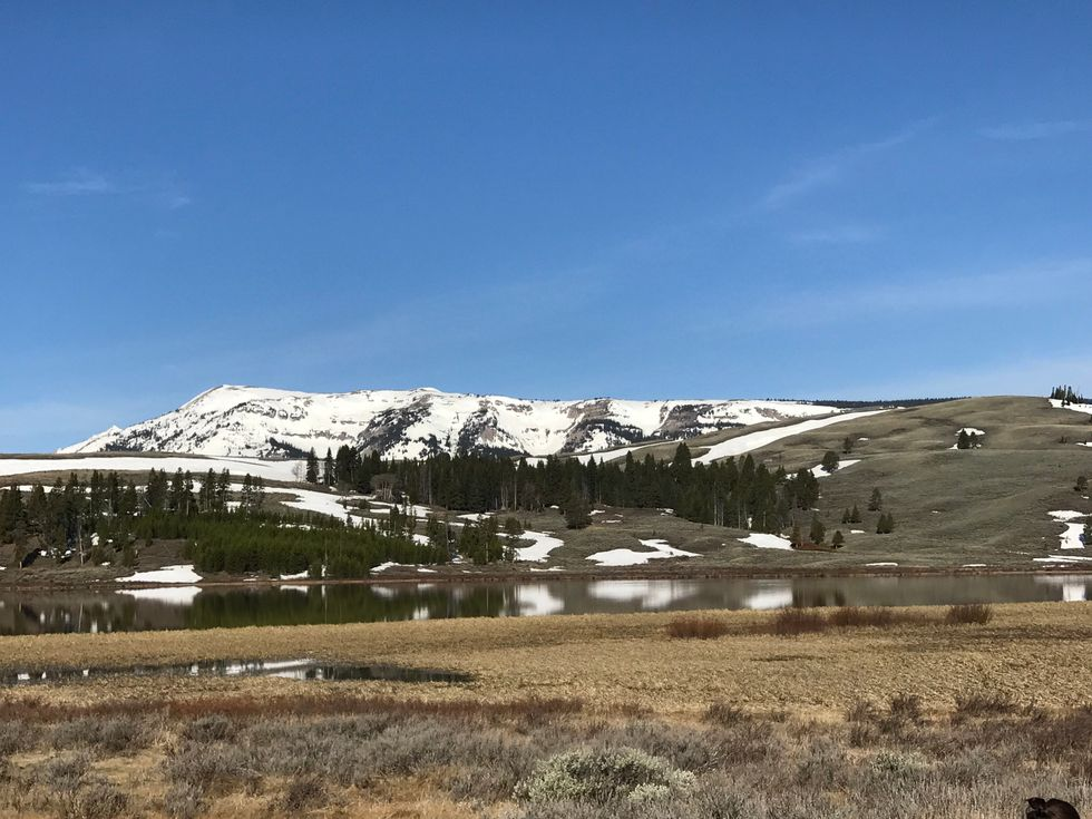 The mountains off in the distance inside Yellowstone National Park.