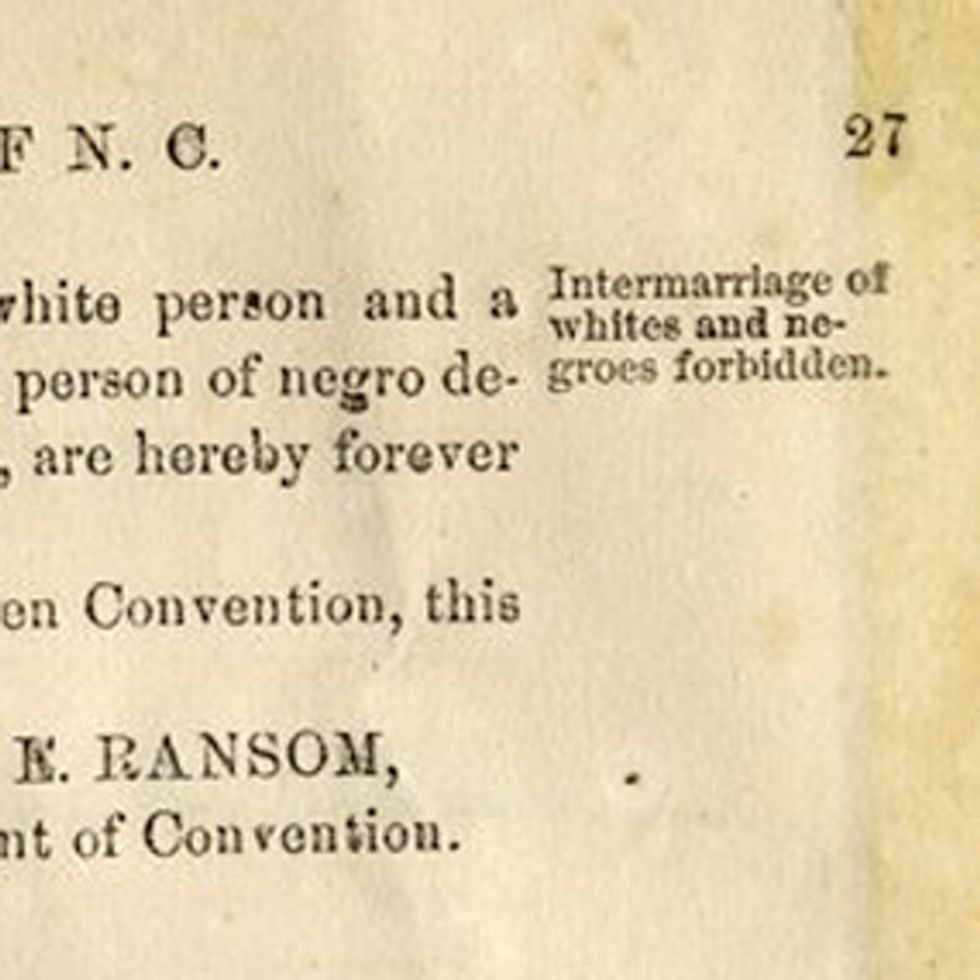 BREAKING: Last Time North Carolina Amended Their Constitution On Marriage, It Was To Ban Interracial Marriage