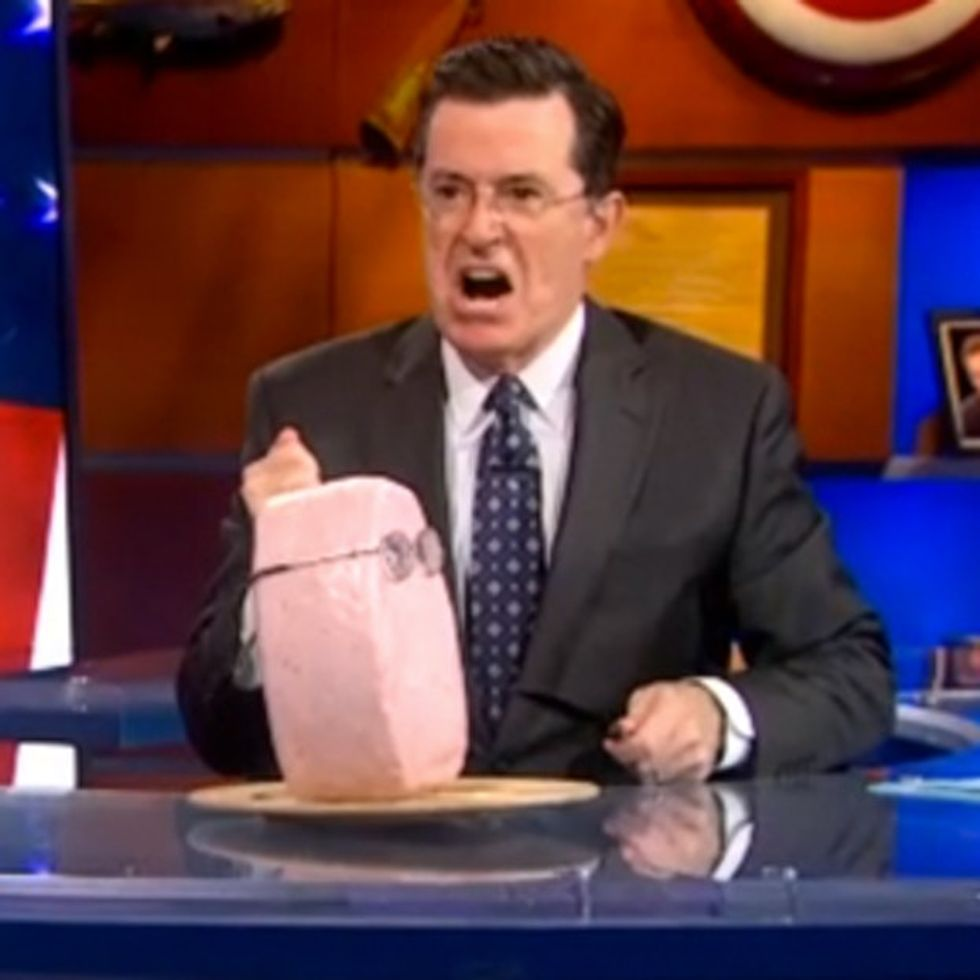 Stephen Colbert Explains A Super PAC Loophole By Stabbing A Ham