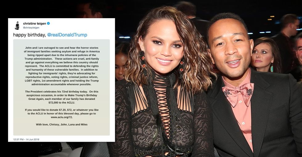 Chrissy Teigen wants to 'Make Trump's Birthday Great Again' — by shading him. Here's how.