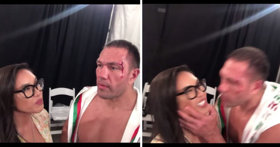 A boxer grabbed a female reporter and kissed her mouth during an interview. It's as bad as it looks.
