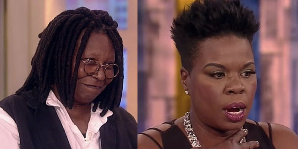 See Leslie Jones fight back tears to thank her idol, Whoopi Goldberg.