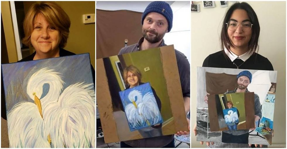 A son posted his nervous mother's painting online and it set off a chain reaction of creativity.