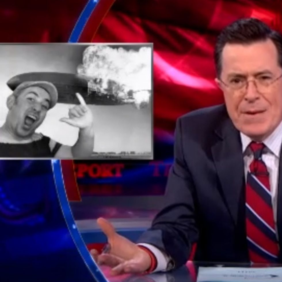 Stephen Colbert burns paper for firing its photojournalists. Yes, there's an app for that.