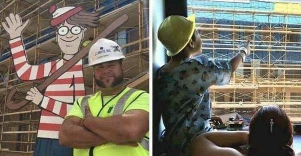 A construction worker made this life-sized 'Where's Waldo?' cutout for hospitalized children to follow and play along.