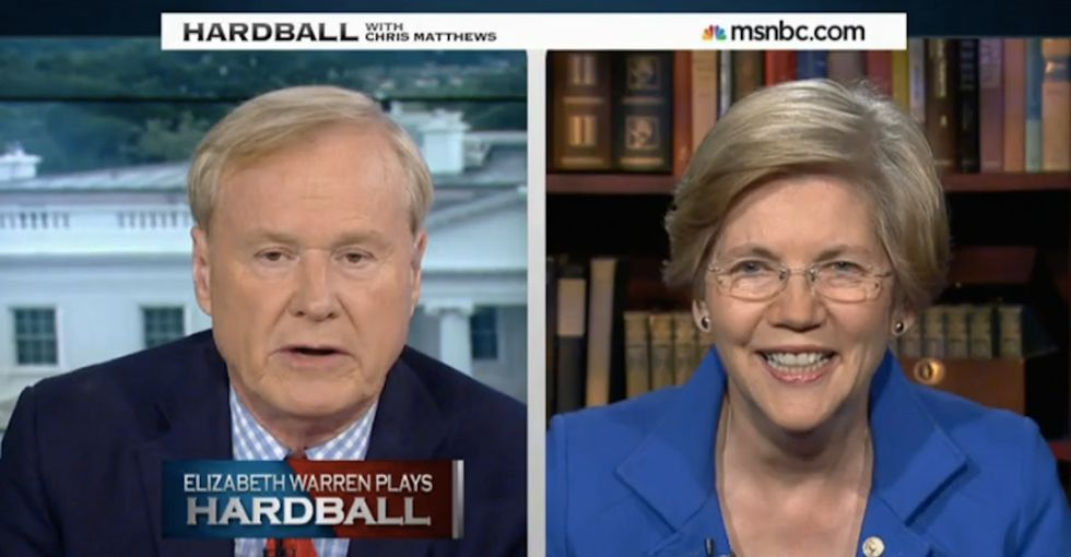 Chris Matthews made Elizabeth Warren angry on-air. Probably shouldn't have done that.