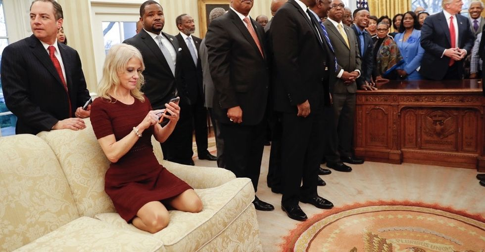 A viral photo of Kellyanne Conway sparks a debate about respect in the Oval Office.