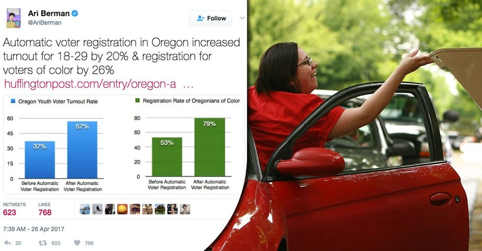 Every state should do what Oregon did to get voters to turn out. It worked, big time.