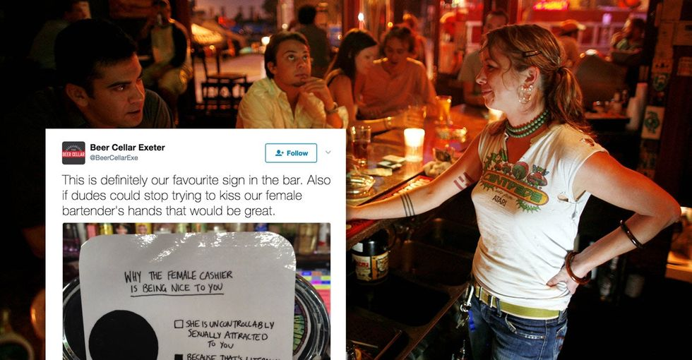 Want to know if that super-cute bartender is flirting with you, bro? Check the sign.