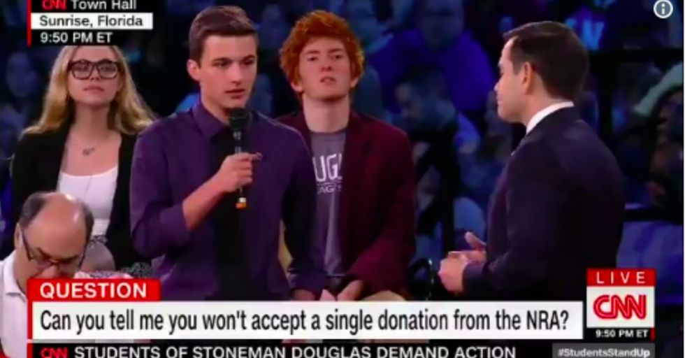 Florida school shooting survivors boldly challenge Rubio on gun control.