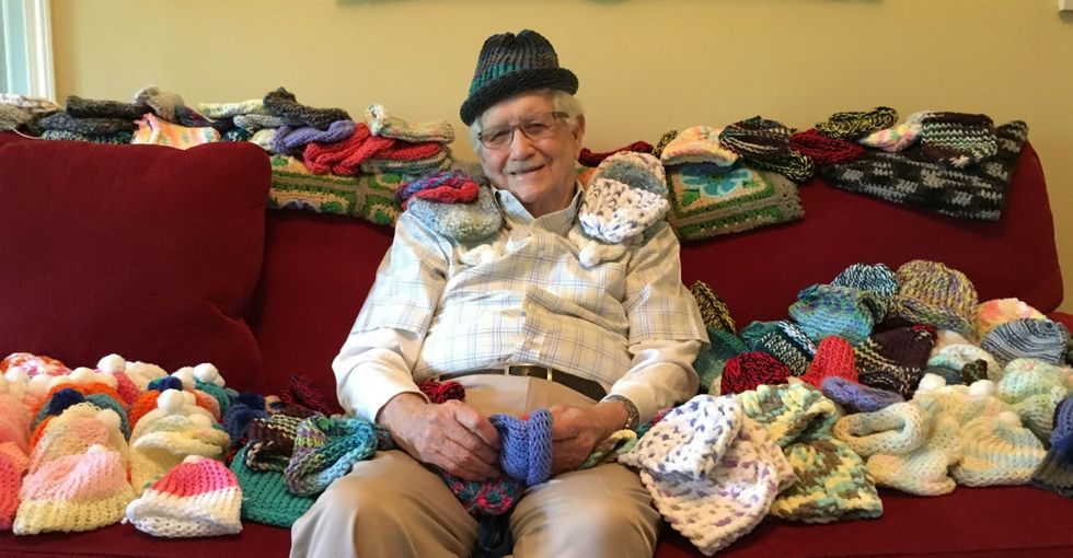 This 86-year-old learned how to knit so he could make caps for premature babies.
