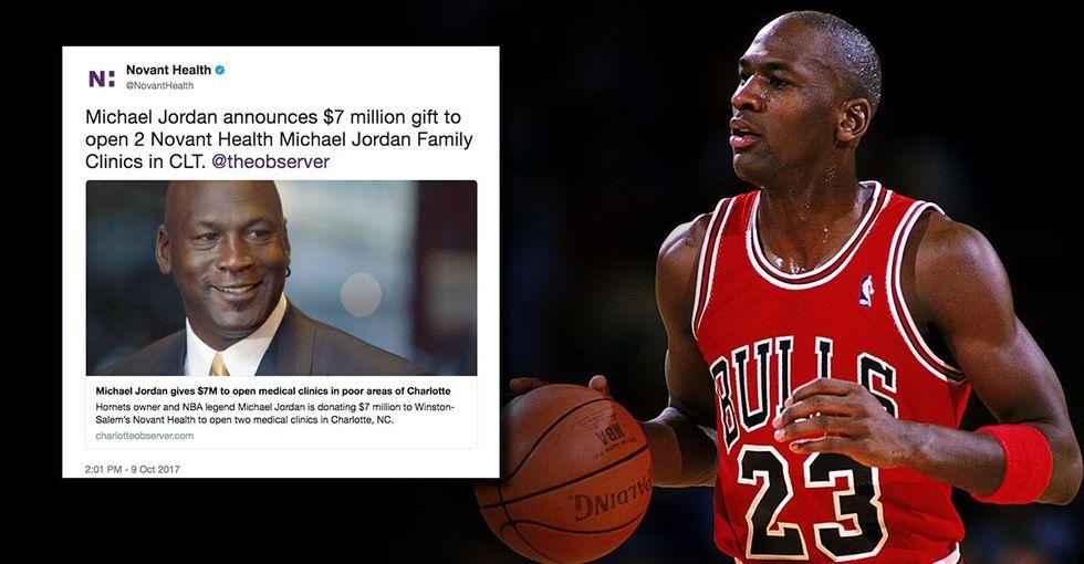 Michael Jordan just donated $7 million to open Charlotte-area health clinics.