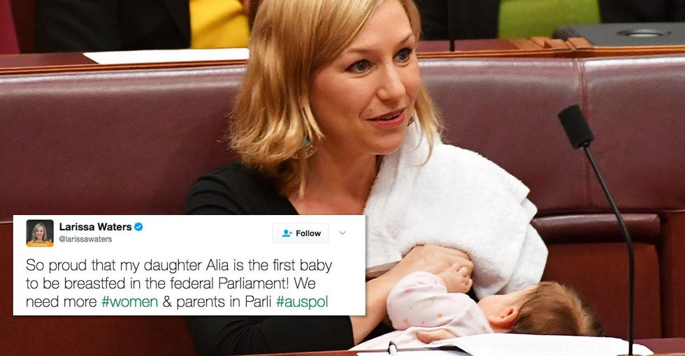Larissa Waters' viral breastfeeding photo has an important message about motherhood.