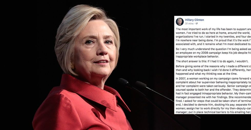 Hillary Clinton responds to controversy over a former campaign employee in a viral post.