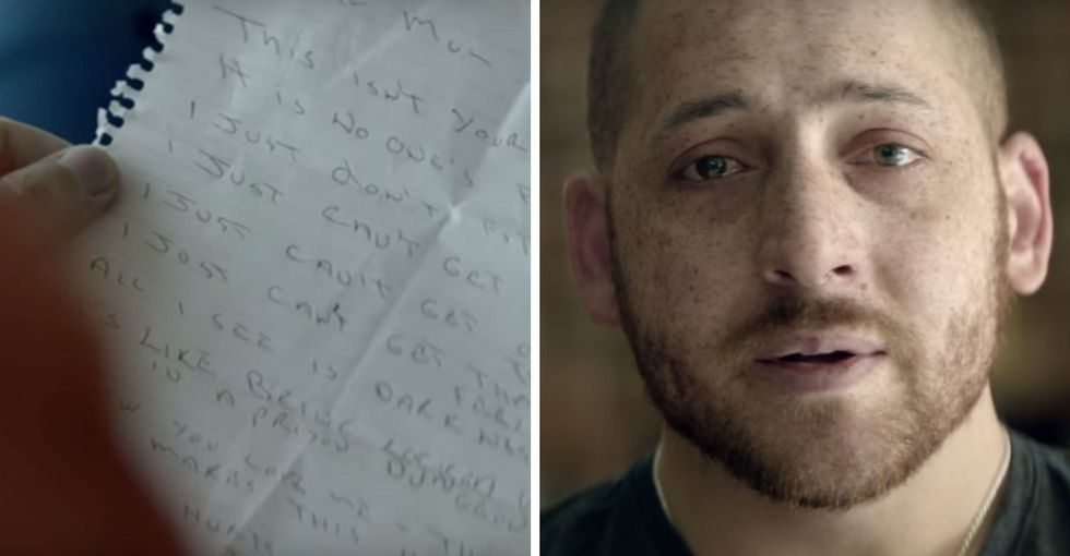 Watch men read their old suicide notes in a gut-wrenching PSA about getting help.