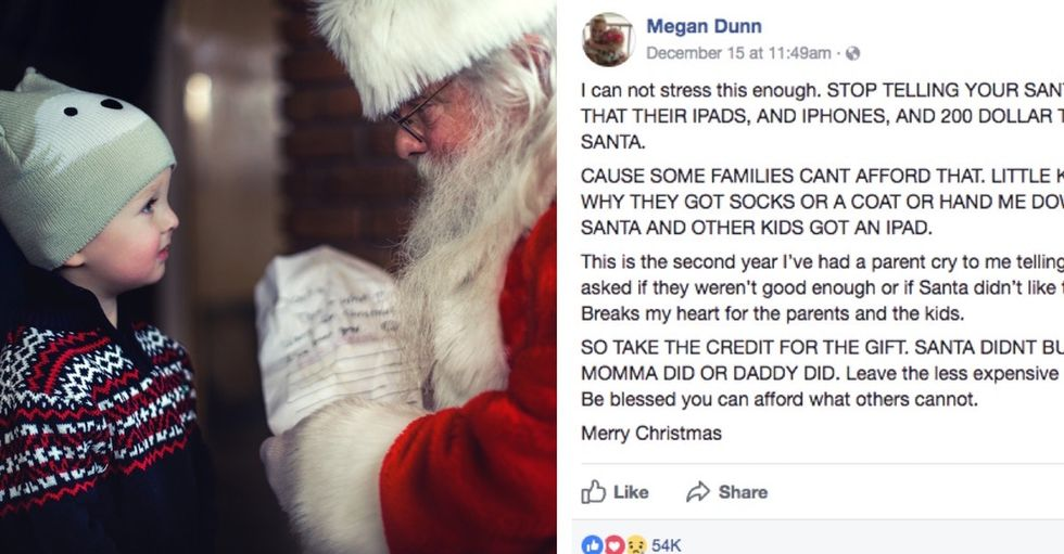 A social worker's plea is going viral: Don't give Santa credit for pricey gifts.