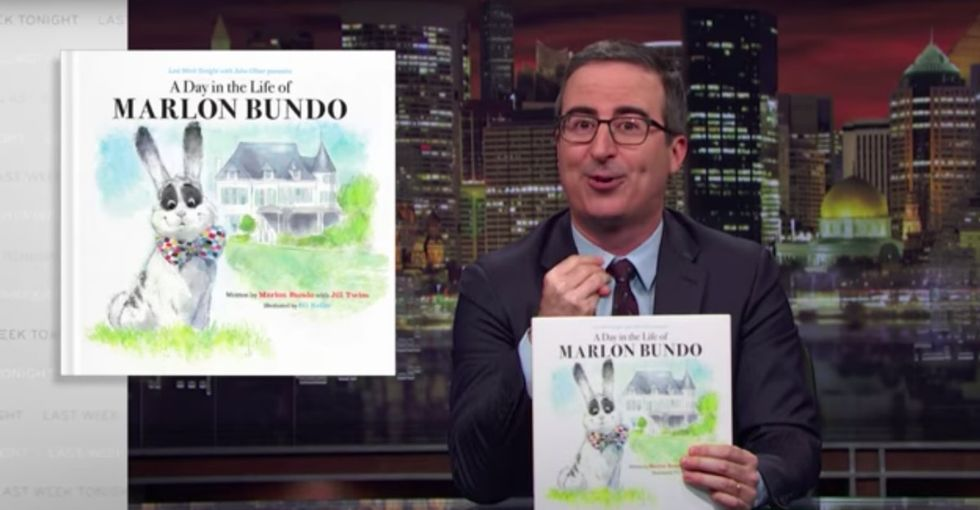 John Oliver is selling a kids book about Mike Pence's rabbit. But there's ... a twist.
