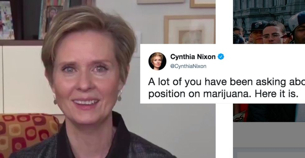 Cynthia Nixon really went there when it comes to white people and weed.