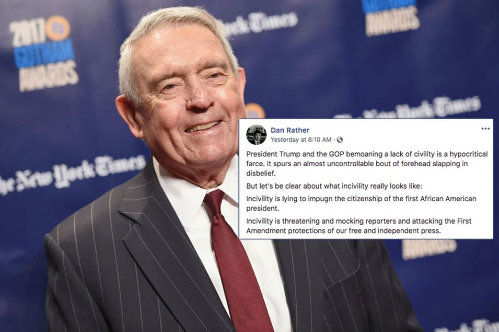 Dan Rather had the perfect response to Trump's complaint about 'a lack of civility.'