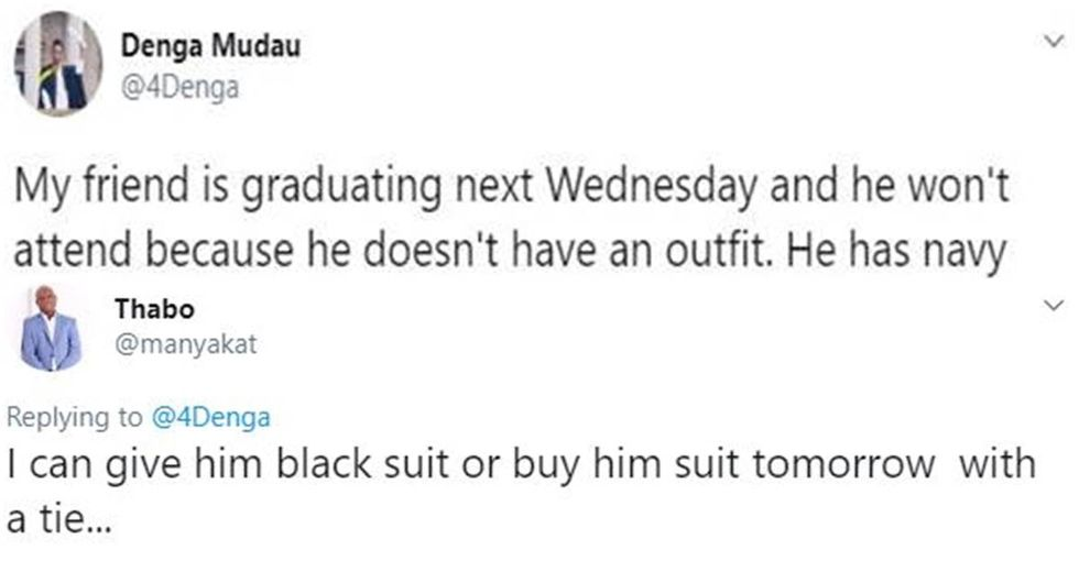 He was going to miss college graduation because he couldn't afford clothes, but Twitter wasn't having it.