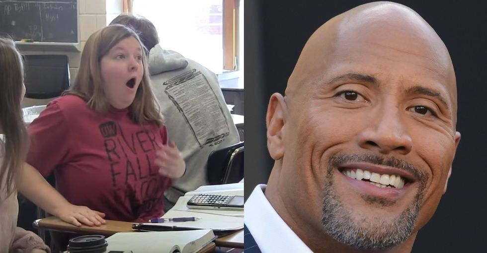The Rock couldn't make it to her prom. So he hijacked her school's PA system instead.