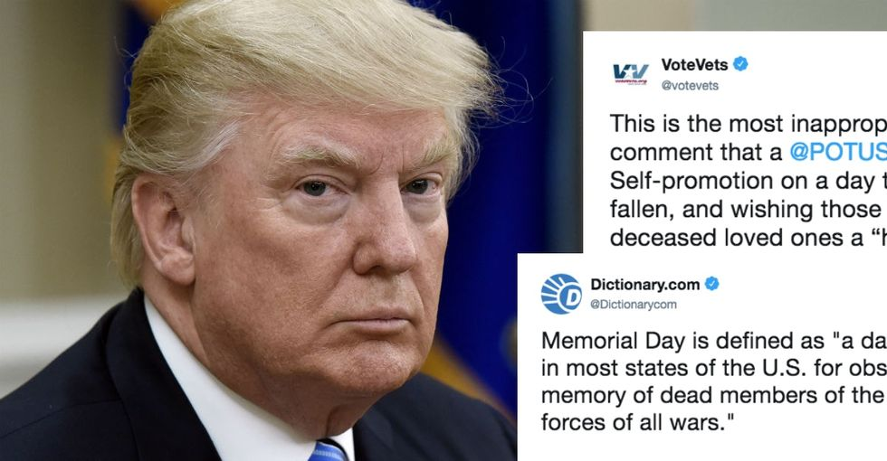 Vets are outraged over Trump's self-congratulatory Memorial Day tweet.