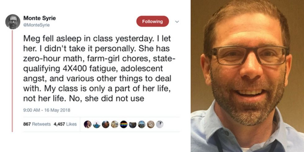 A high school teacher's reaction to a sleeping student has gone viral for all the right reasons.