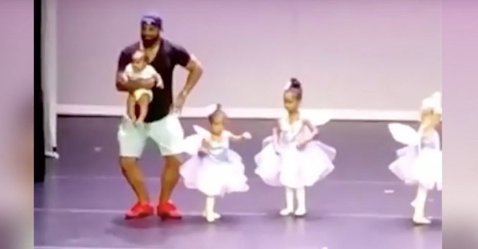 His daughter broke down onstage, so he came to her rescue. And the video is adorable.