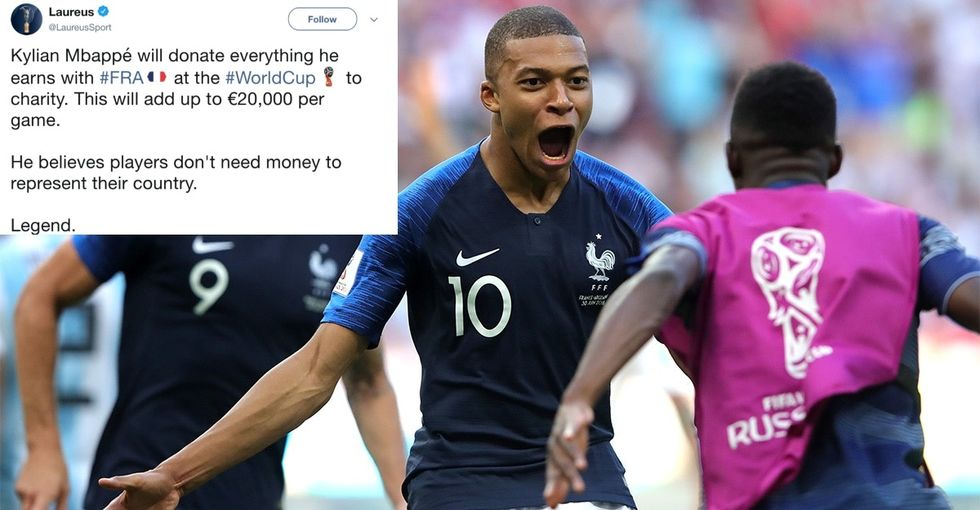This French soccer star is using his World Cup pay to support kids with disabilities.