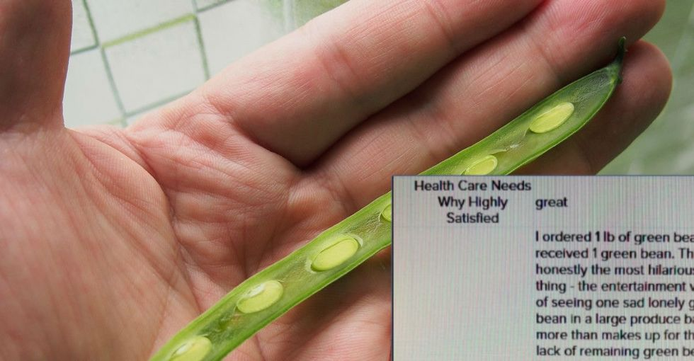 This grocery store customer has some 'honest questions' after receiving a single green bean in the mail.