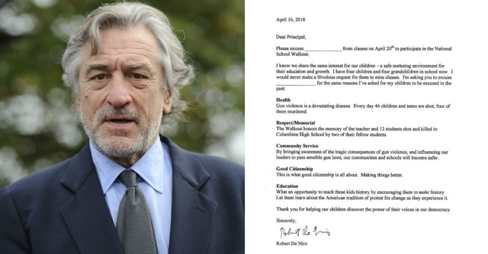 Walking out to protest gun violence? Robert De Niro just wrote a note to your principal.