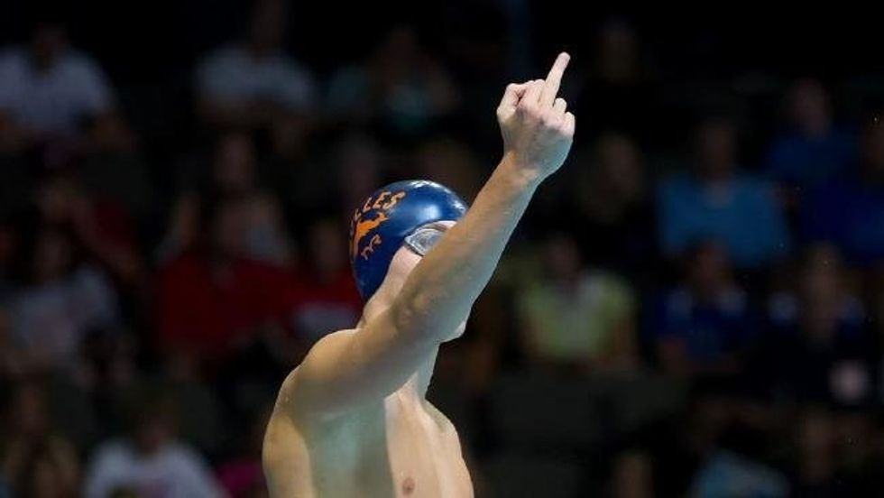 Why this Olympic swimmer gave his dad the middle finger before every race.