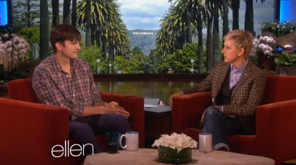 Ellen thanks Ashton Kutcher for giving a great speech. His reply? A great speech.
