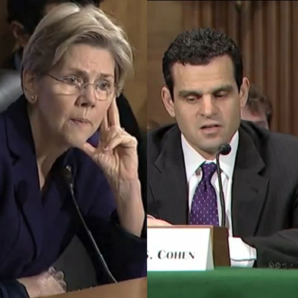WATCH: Sen. Elizabeth Warren tears government 'experts' a new one over money laundering.