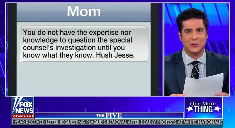 Fox News host reads texts from his liberal Mom that hilariously shame him.