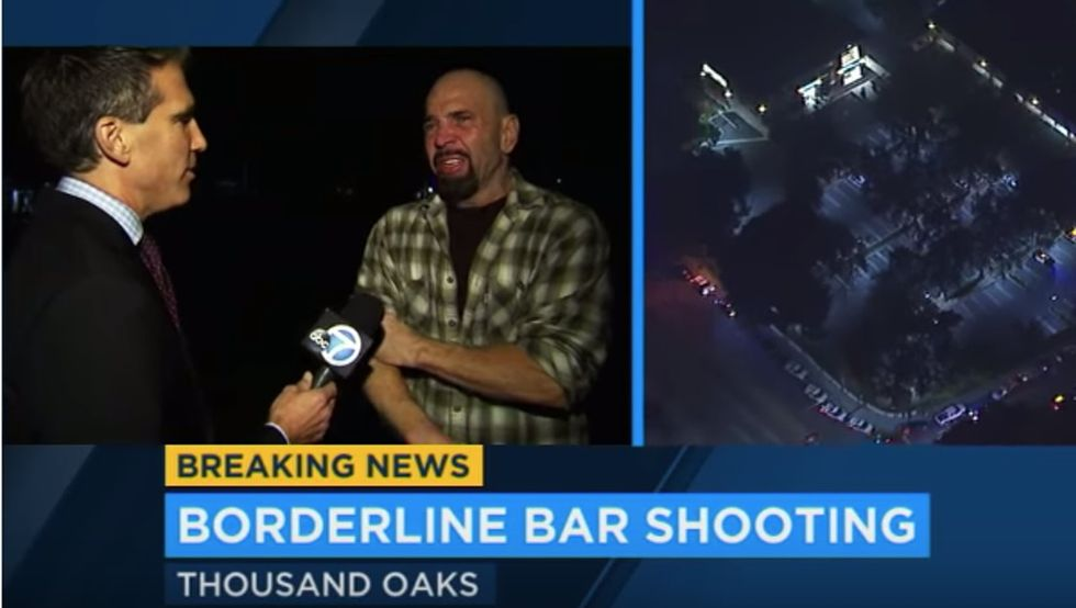 This Thousand Oaks shooting survivor gave a heartbreaking interview just moments after saving his son's life.