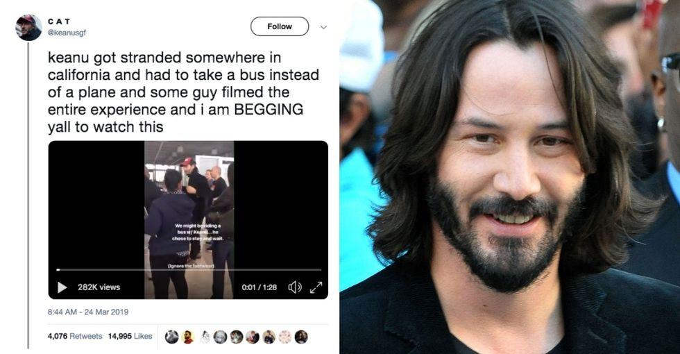 Keanu Reeves went peak Keanu when he and fellow air passengers got stranded in Bakersfield.