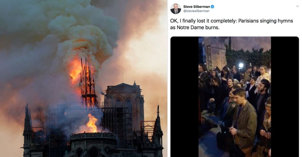 A tragically beautiful video captures Parisians singing hymns as they watch Notre Dame burn.