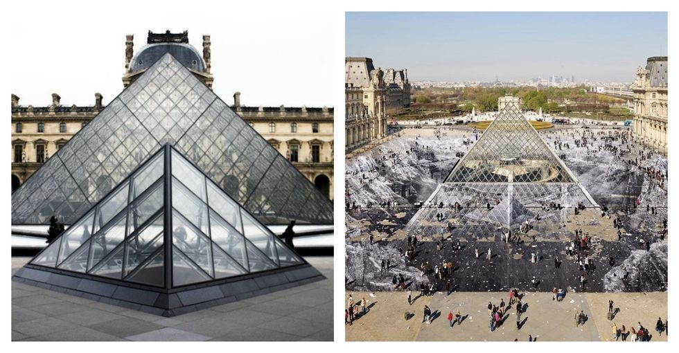 Someone plastered The Louvre with 2,000 sheets of paper and it looks cool AF.