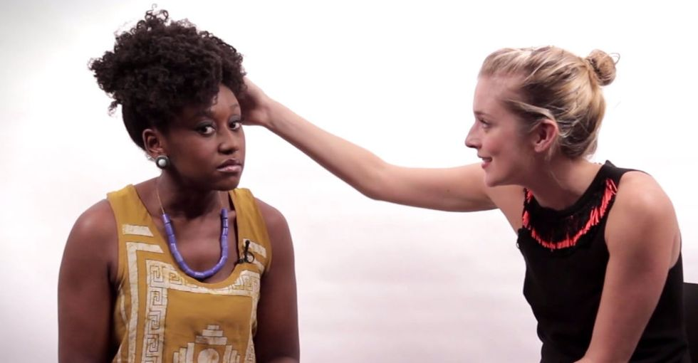 When this blonde famous woman reaches for her hair, I'm *really glad* it's all a joke.