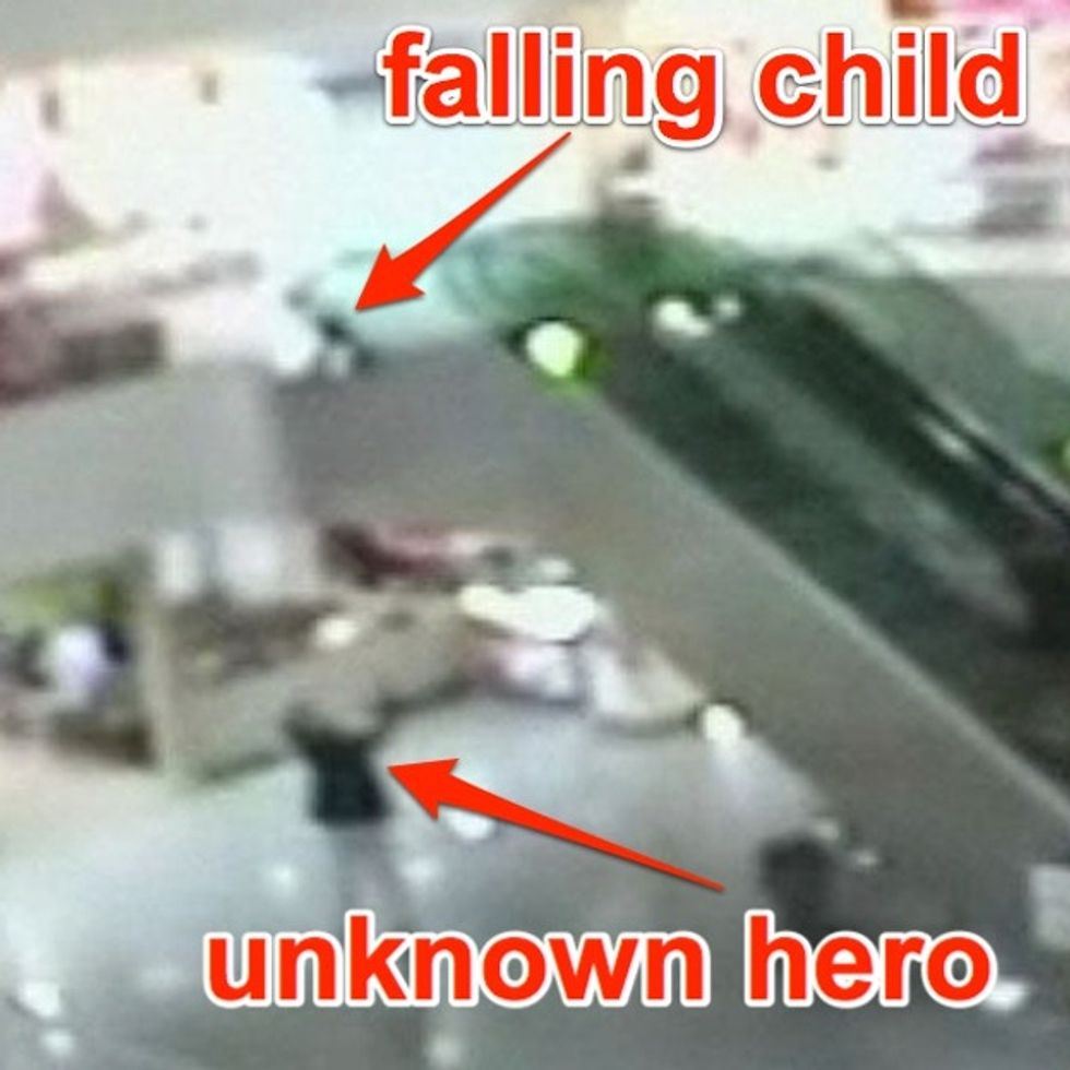 Young Child Dies In Tragic Accident At The Mall. No Wait, Hero Appears Out Of Nowhere And Saves Him.