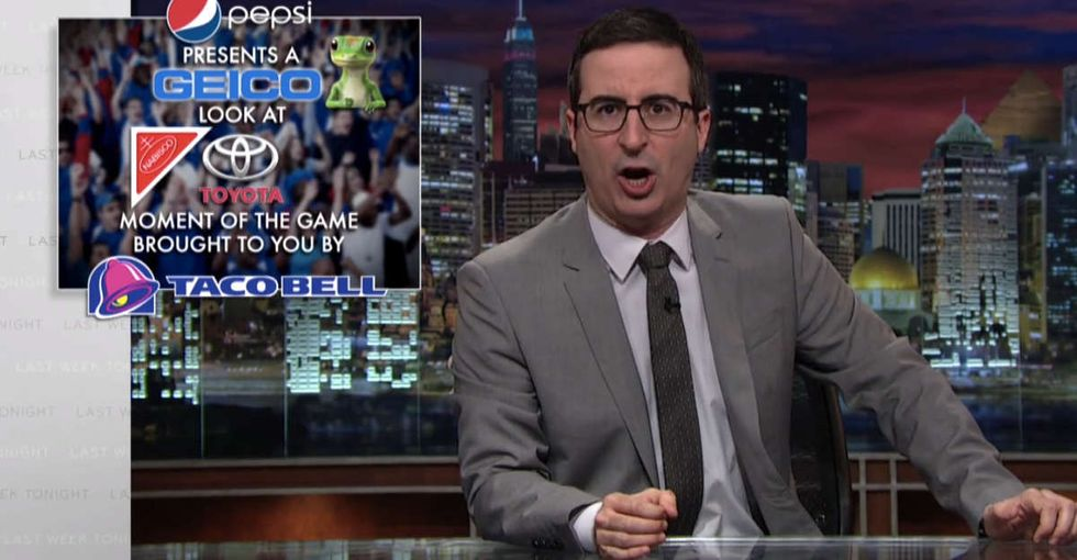 John Oliver reveals the dark side of all those March Madness ads, jerseys, and video games.