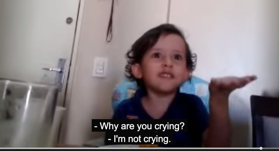 Watch A Kid At A Dinner Table Accidentally Destroy One Of His Mother's Lifelong Beliefs