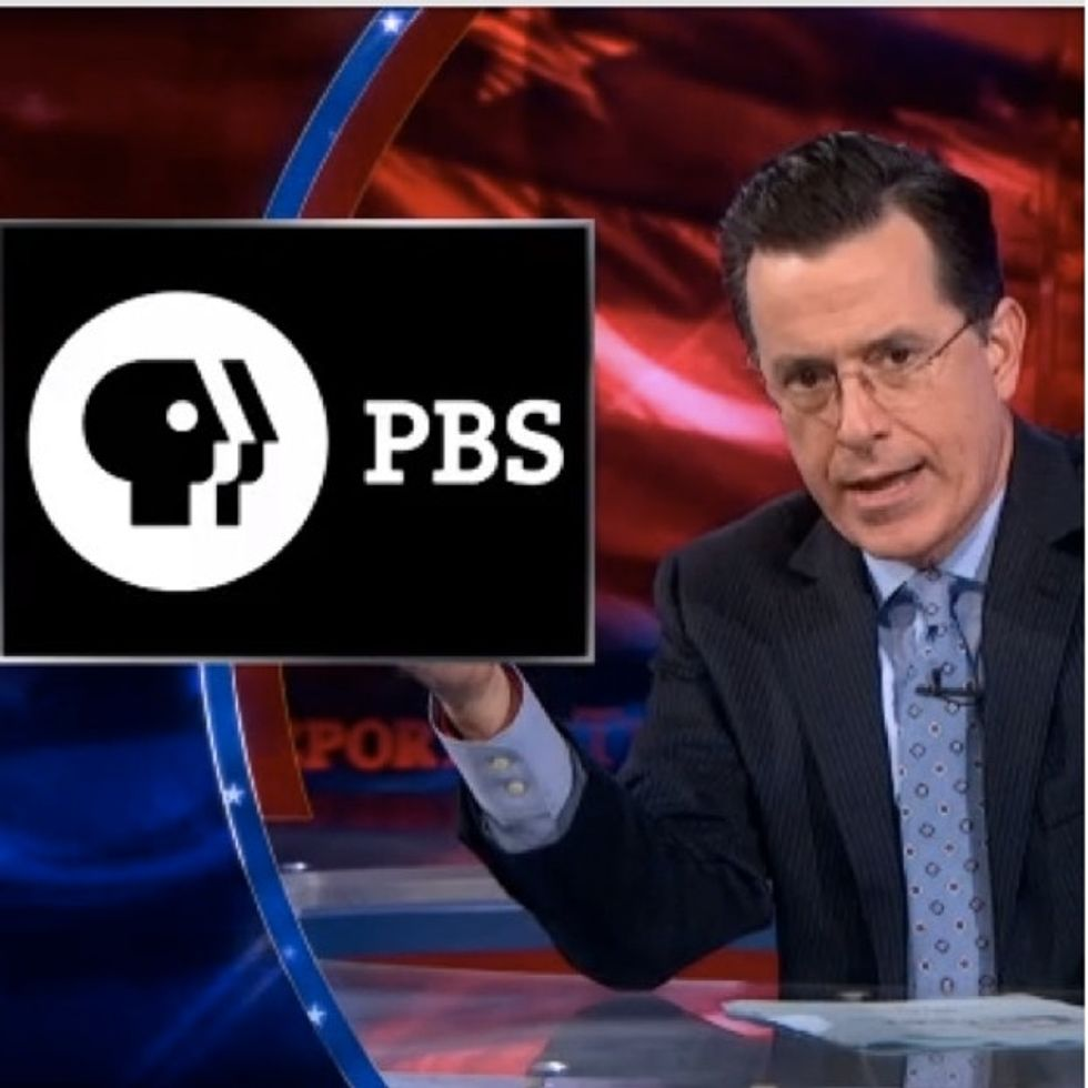 This hilarious lashing of PBS by Stephen Colbert was brought to you by the letter 'C' for censorship.