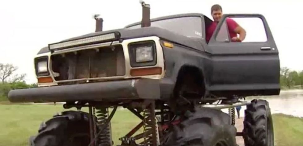 When a flood left people stranded, this man had the perfect rescue vehicle.